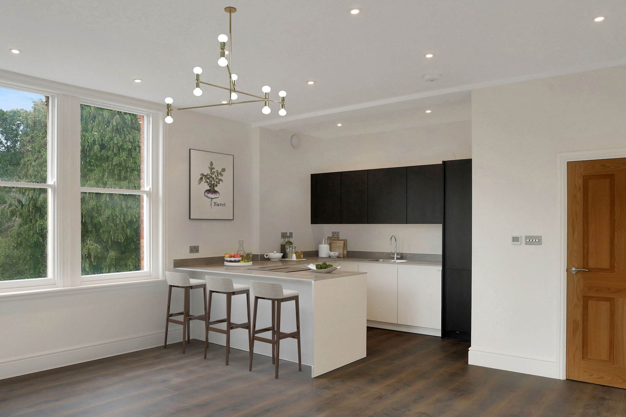 Elm Bank Project Modern open plan luxury apartment kitchen