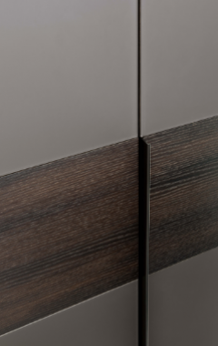 cabinet door front with slimline handle and contrasting materials