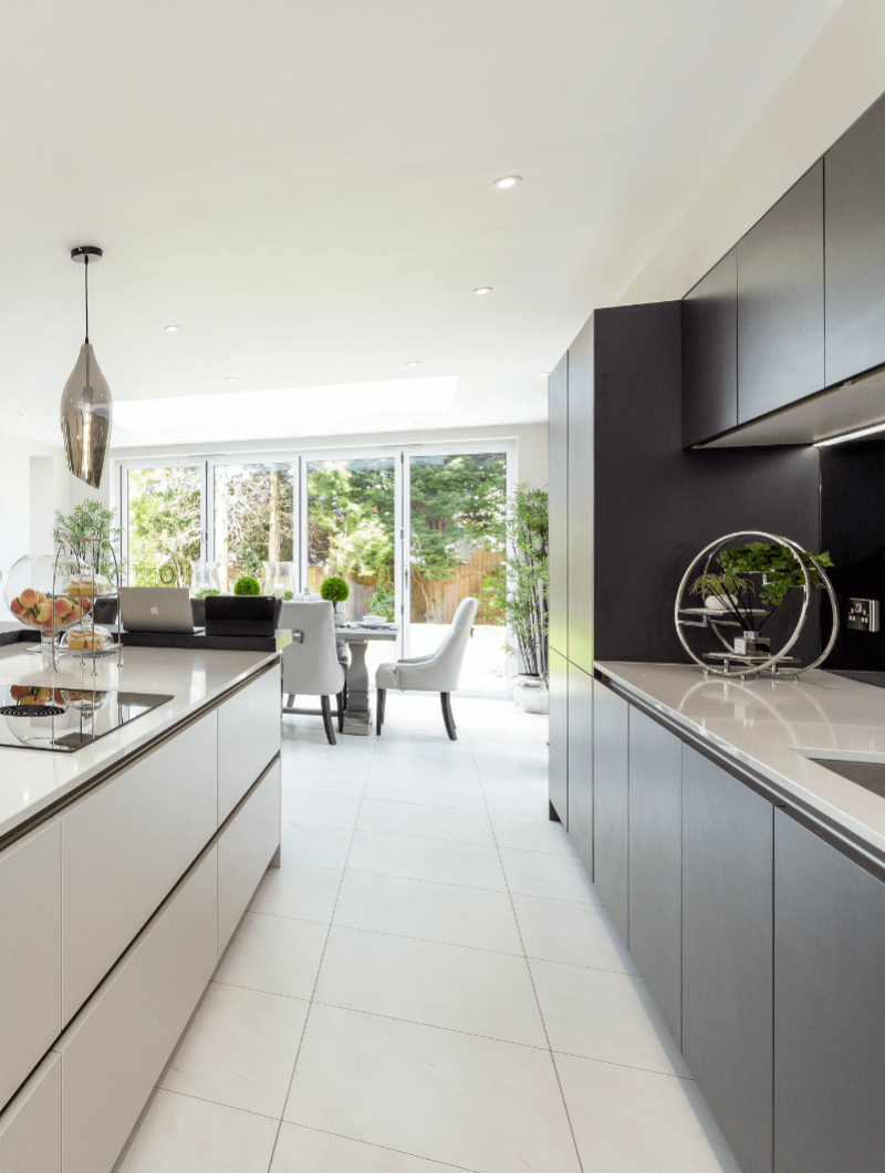 Alderbrook Road project Modern SieMatic open plan black and white kitchen