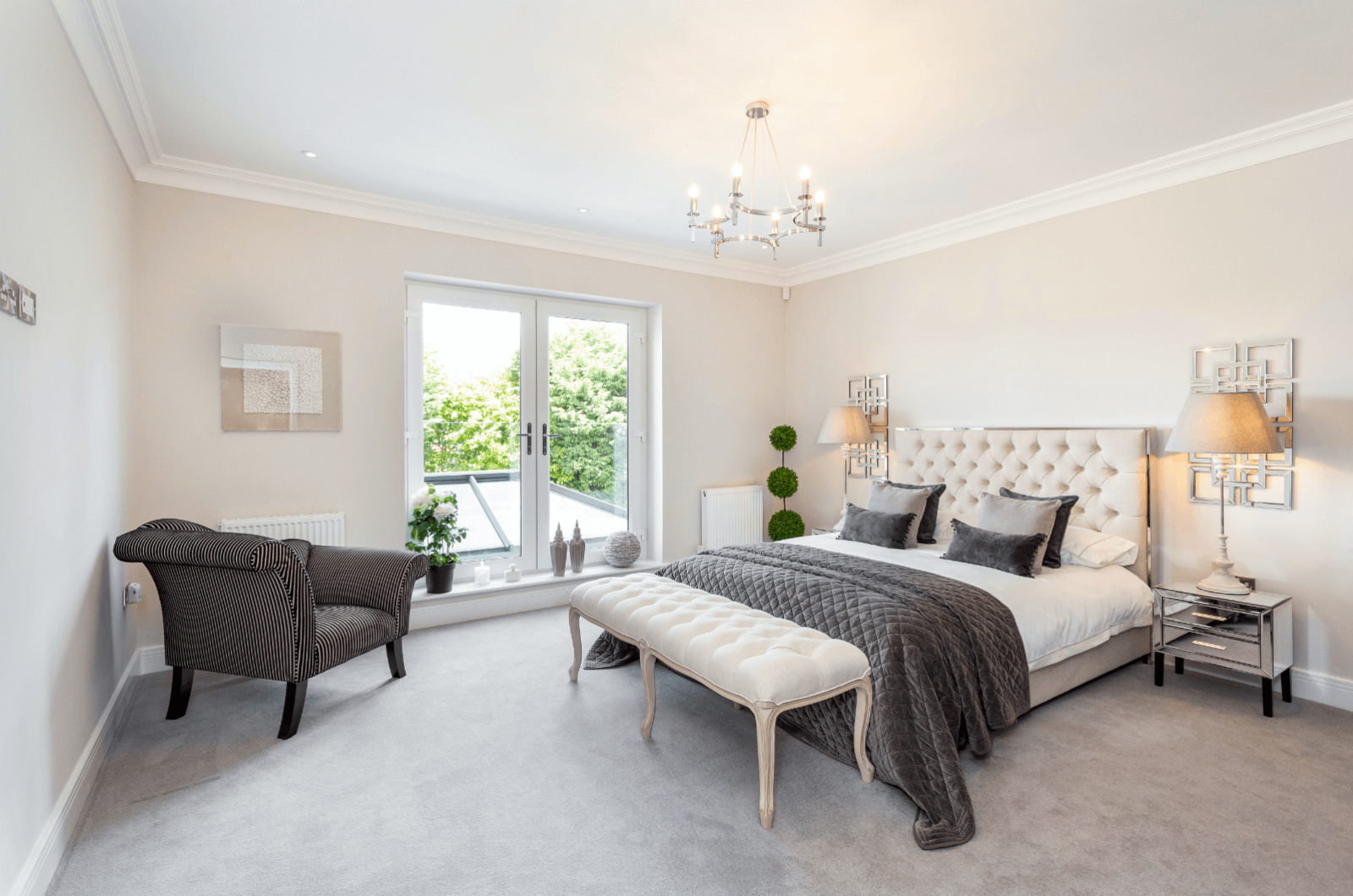 Alderbrook Road project modern neutral bedroom interiors