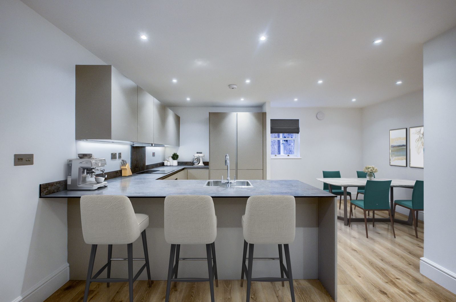 Elm Bank Project Modern open plan apartment kitchen in luxury apartments