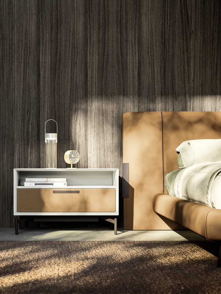 Jesse Deville collection bed brown leather headboard and matching side table