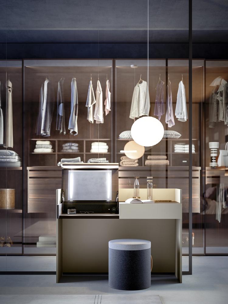 Jesse Italian furniture glass walk in wardrobe