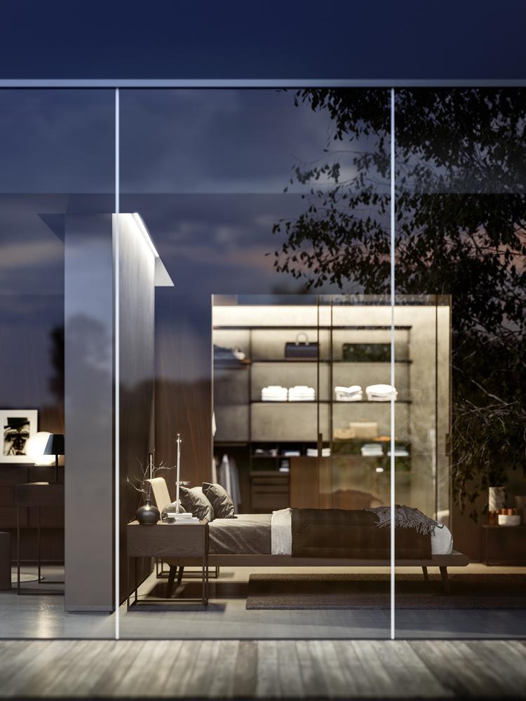 Jesse Italian furniture bedroom behind glass wall