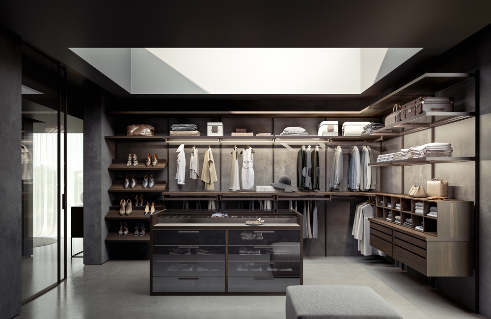 Jesse naked collection dressing room with floor to ceiling shelves and an island in the centre