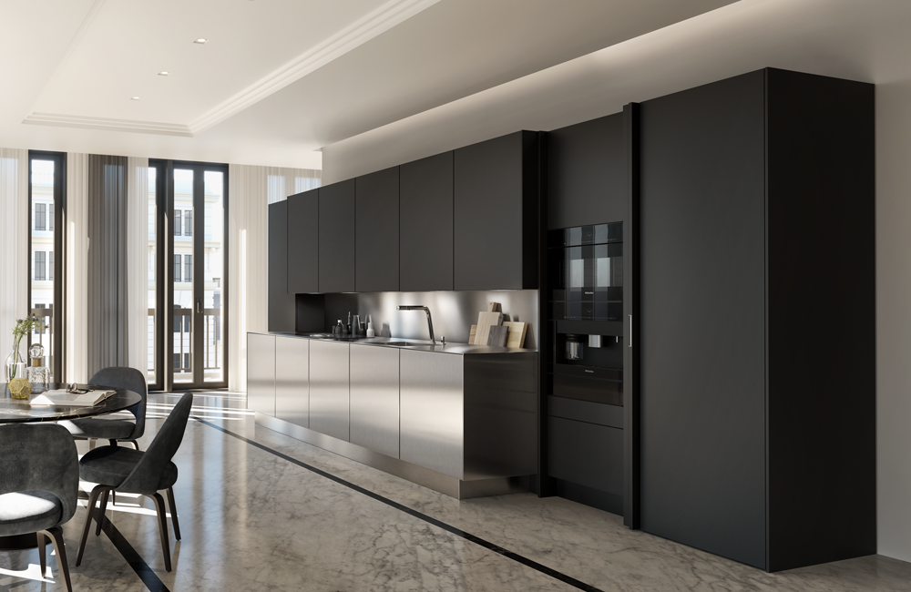 SieMatic PURE open plan kitchen in black and stainless steel
