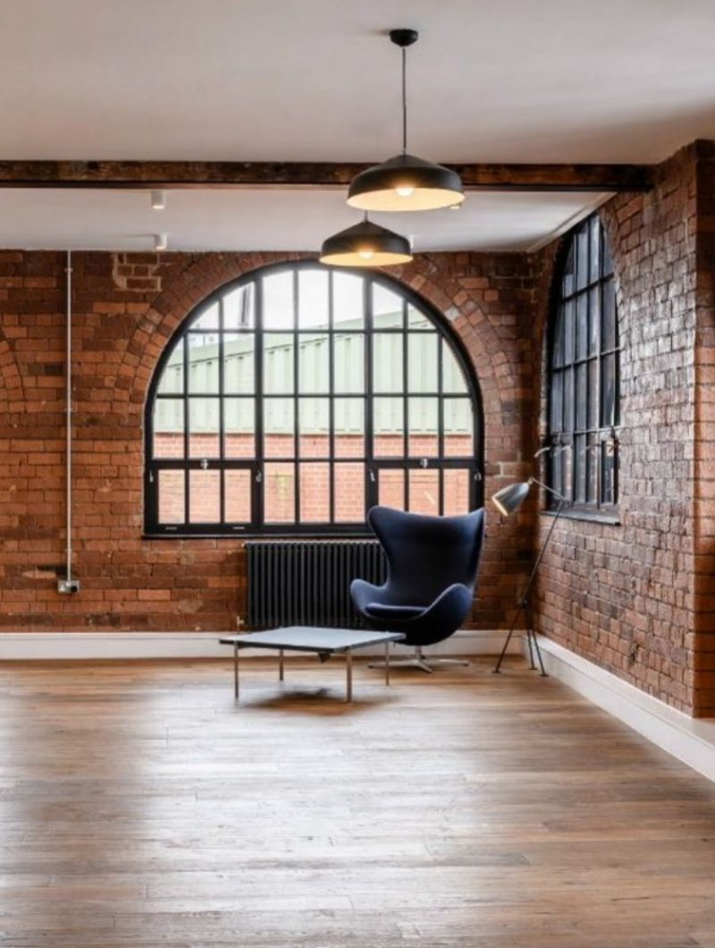 interior design project industrial apartment room with arch window and modular seat
